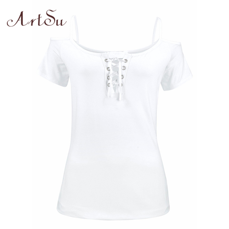 ArtSu Off the Shoulder Tops for Women Short Sleeve T shirts Women 2017 Summer Fitness Big Size Tee Shirt White Black ASTS50098