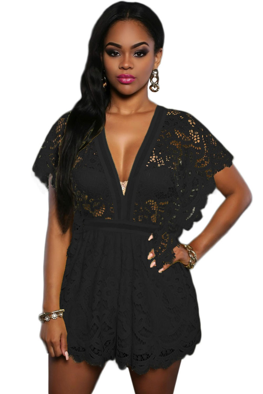 Black-Lace-Sheer-Top-Romper-LC64004-2-1