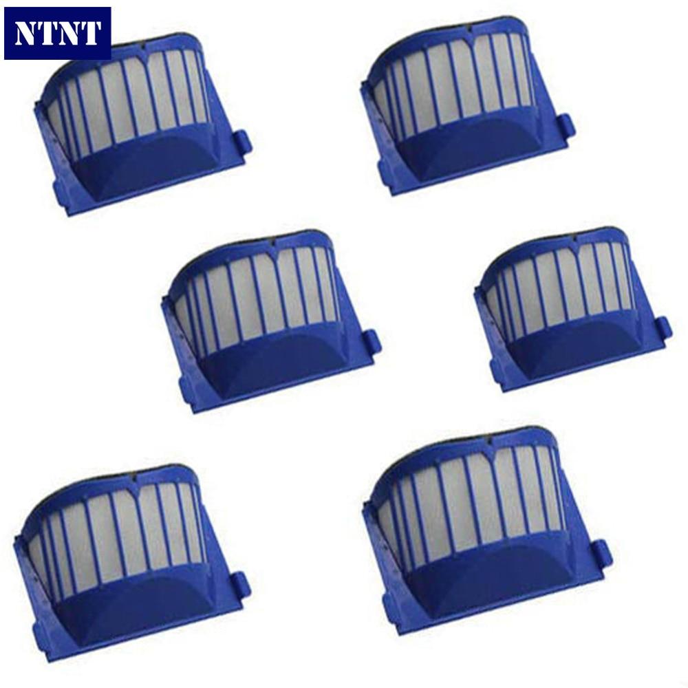 NTNT Free Post New Blue 6 x AeroVac Filter for iRobot Roomba 600 Series 620 630 650 660 670 680 комплект постельного белья семейный олеся бязь фиалки наволочки 70x70