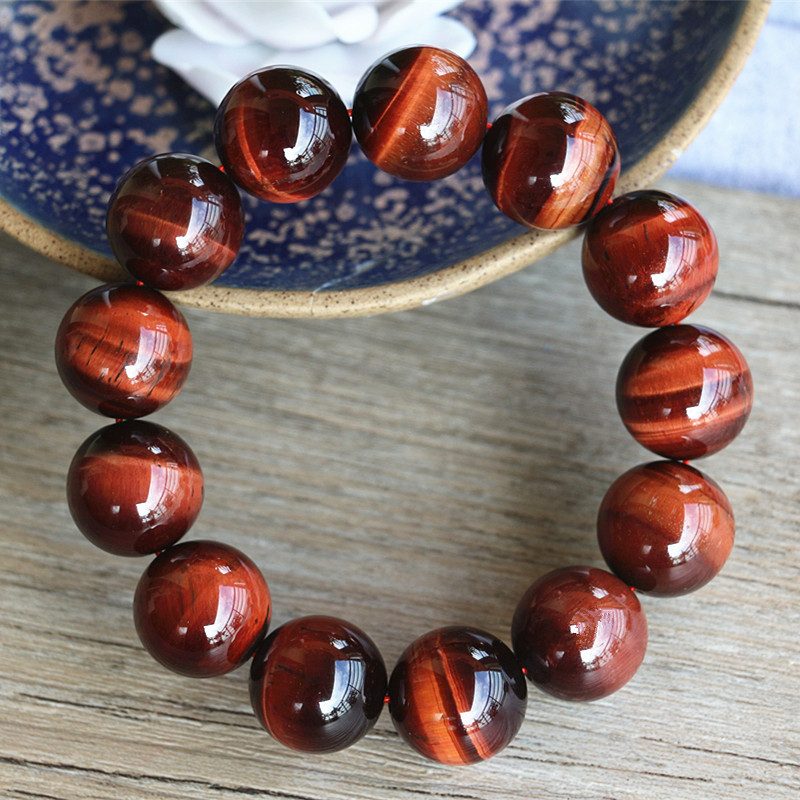 10mm Handmade Jewelry Beaded Bracelet Tiger Eye Stone Beads Charm Bracelet