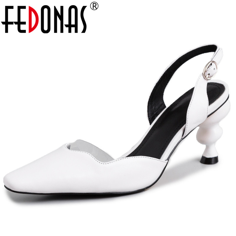 Ayakk.'ten Yüksek Topuklular'de FEDONAS Kadın Sandalet Yeni Katı Hakiki Deri Yüksek Topuklu Moda Balo Parti Rahat Pompalar Yaz Ayakkabı Kadın Garip Topuklar'da  Grup 1