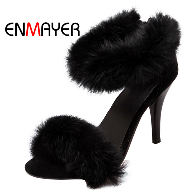 ENMAYER Fashion High Heel Sandals Summer Party Women's Shoes Pink Greed Black Sexy Pumps Zipper Gladiator Style Shoes for Women enmayer print wedge sandals new fashion pu women high heel sandals for women casual shoes bow summer shoes women big bohemia