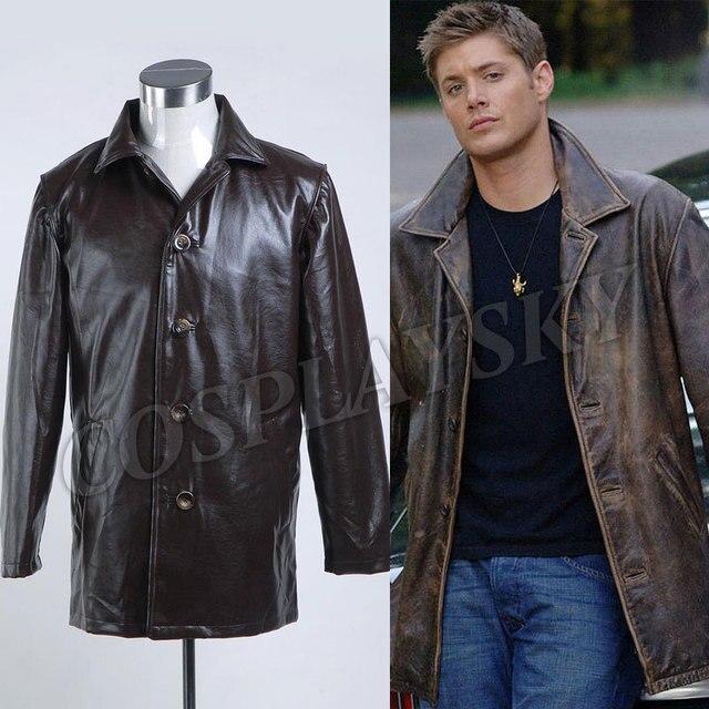 Veste Manteau Supernatural Dans Winchester Costumes Dean De Pleather q1xgtz