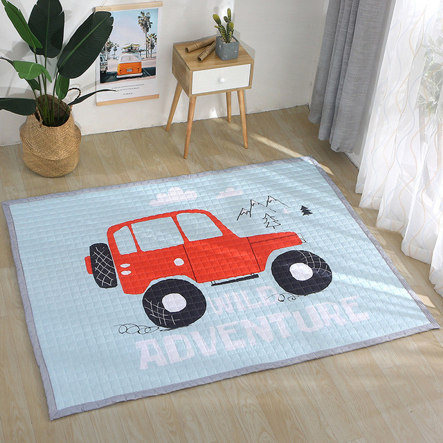 Cartoon play mat 150*200cm big carpet Antiskip kid room carpet rectangle 100% cotton mat outdoor panda room mat rabbit floor rug