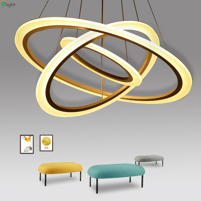 Modern Lustre Acrylic Ring Led Chandeliers Lighting Living Room Led Pendant Chandelier Lights Dining Room Hanging Light Fixtures modern lustre crystal led chandelier lighting chrome metal living room led pendant chandeliers light led hanging lights fixtures