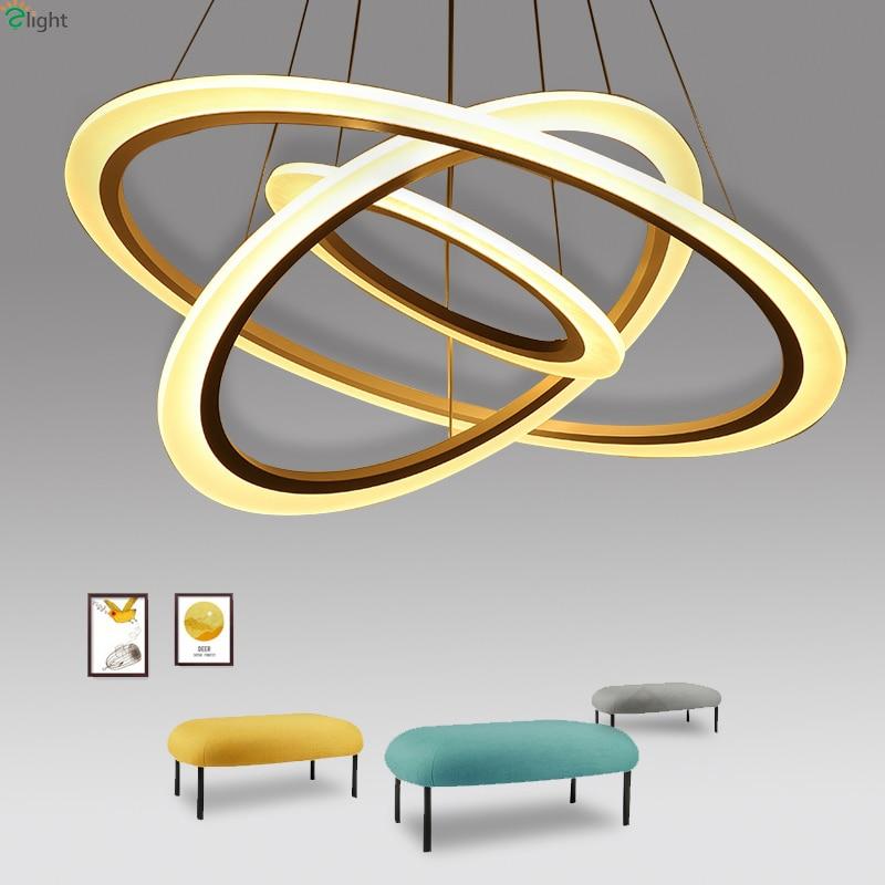 Modern Lustre Acrylic Ring Led Chandeliers Lighting Living Room Led Pendant Chandelier Lights Dining Room Hanging Light Fixtures