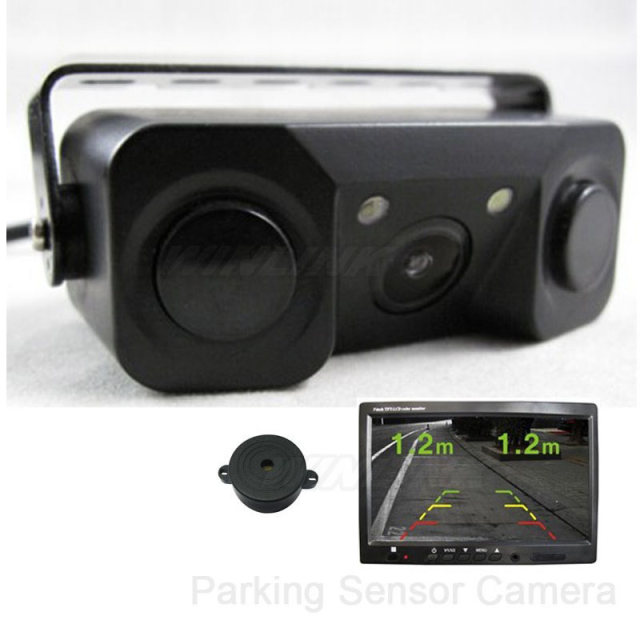 Waterproof 2 in 1 Car Parking Assistance Rear View Camera Backup Camera with 2 Parking Sensors Show Image&Distance Free Shipping
