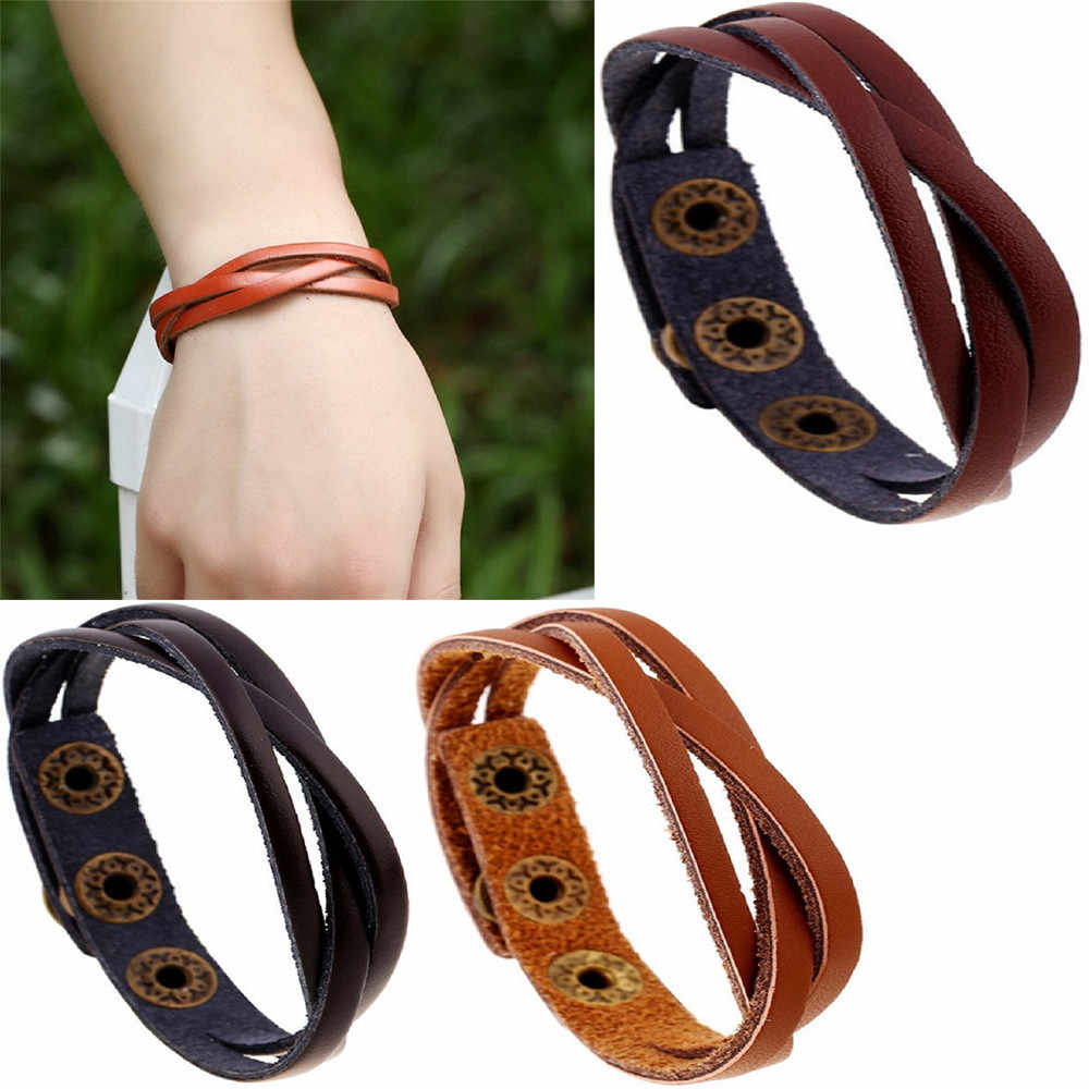 Bracelets  New Leather Wrap Braided Wristband Cuff Punk Men Women Bracelet Bangle bransoletki damskie pulseras mujer Modis #CE2