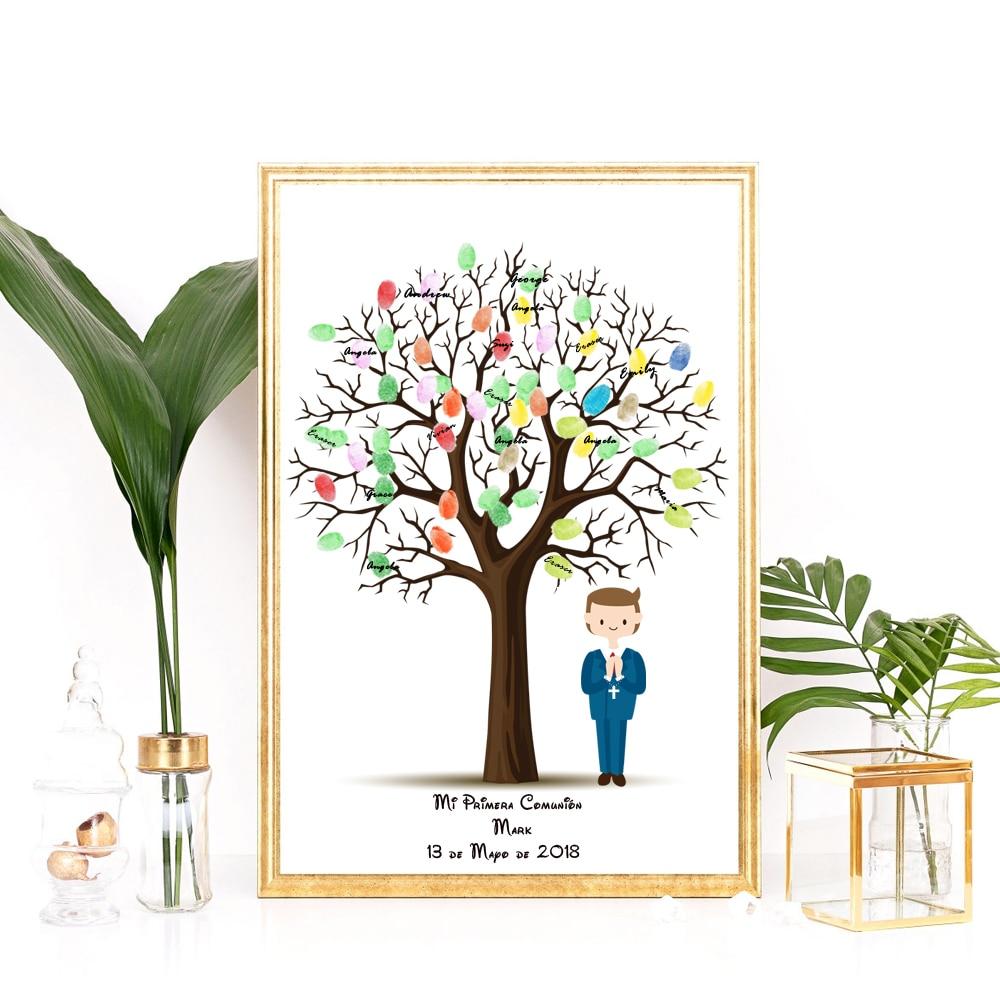Us 735 30 Offpersonalisierte Jungen Der Erste Kommunion Geschenk Fingerprint Baum Gästebuch Kreative Kommunion Souvenir Taufe Souvenir Taufe