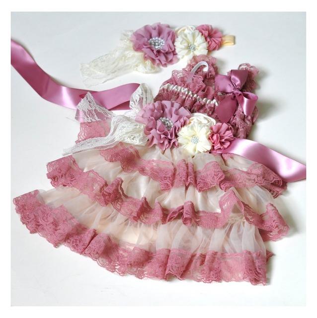 5 set/lote Rosa Empolvado con Marfil Vestidos de Encaje A Juego Del Bebé Venda de La Flor Sash Cinturón