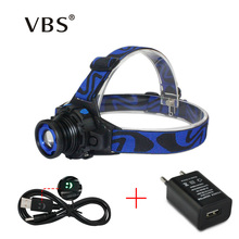 Headllight Cree Q5 Waterproof LED Headlamp 1000lm Built-in Lithium Battery Rechargeable Head lamps 3 Modes Zoomable Torch