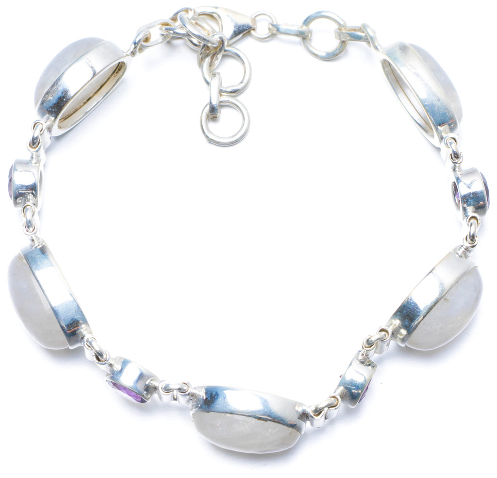 Natural Rainbow Moonstone and Amethyst Handmade Unique 925 Sterling Silver Bracelet 7-8 1/4