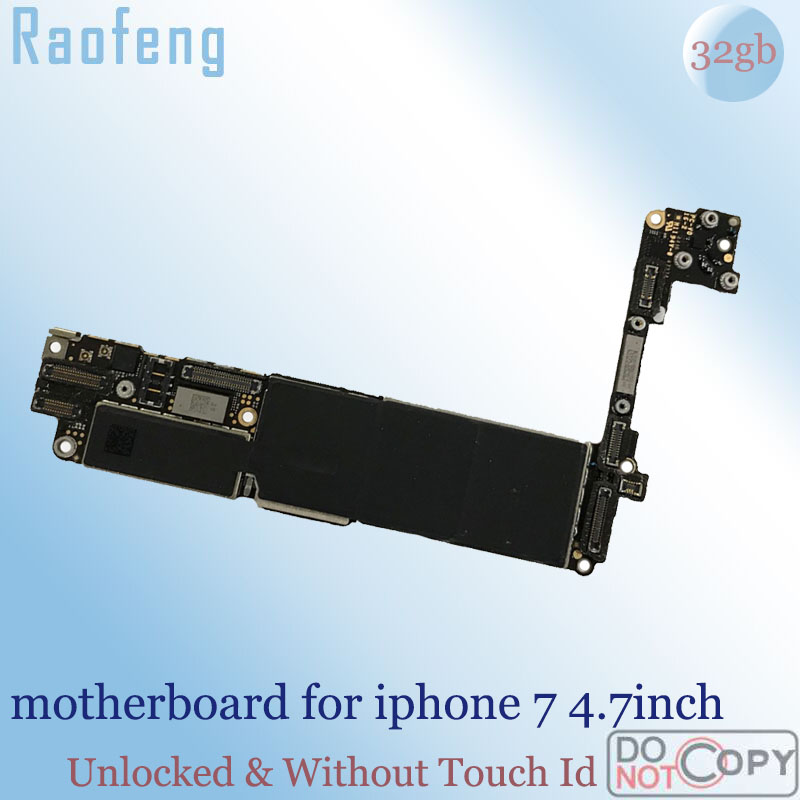 Raofeng 32gb Without Touch ID  suit ios  motherboard for Iphone 7 4.7inch mainboard Unlocked & Used  With Chips logic board(China)
