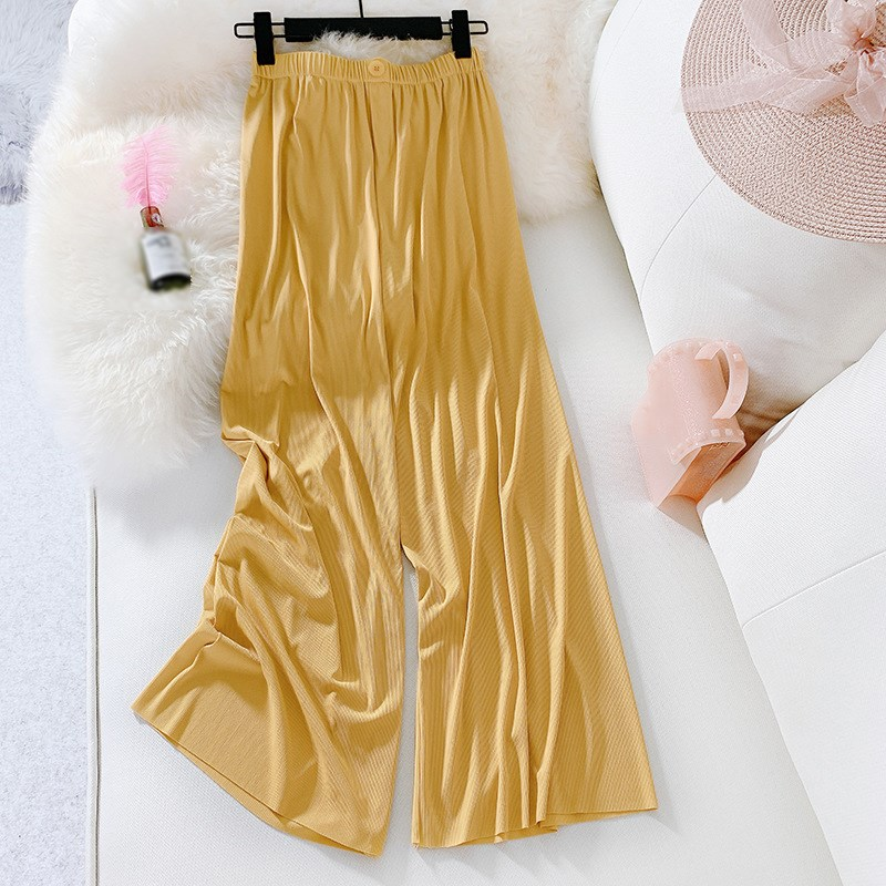 Summer Women Ankle Length   Wide     Leg     Pants   Loose Solid Pleated Trousers High Waist   Pants