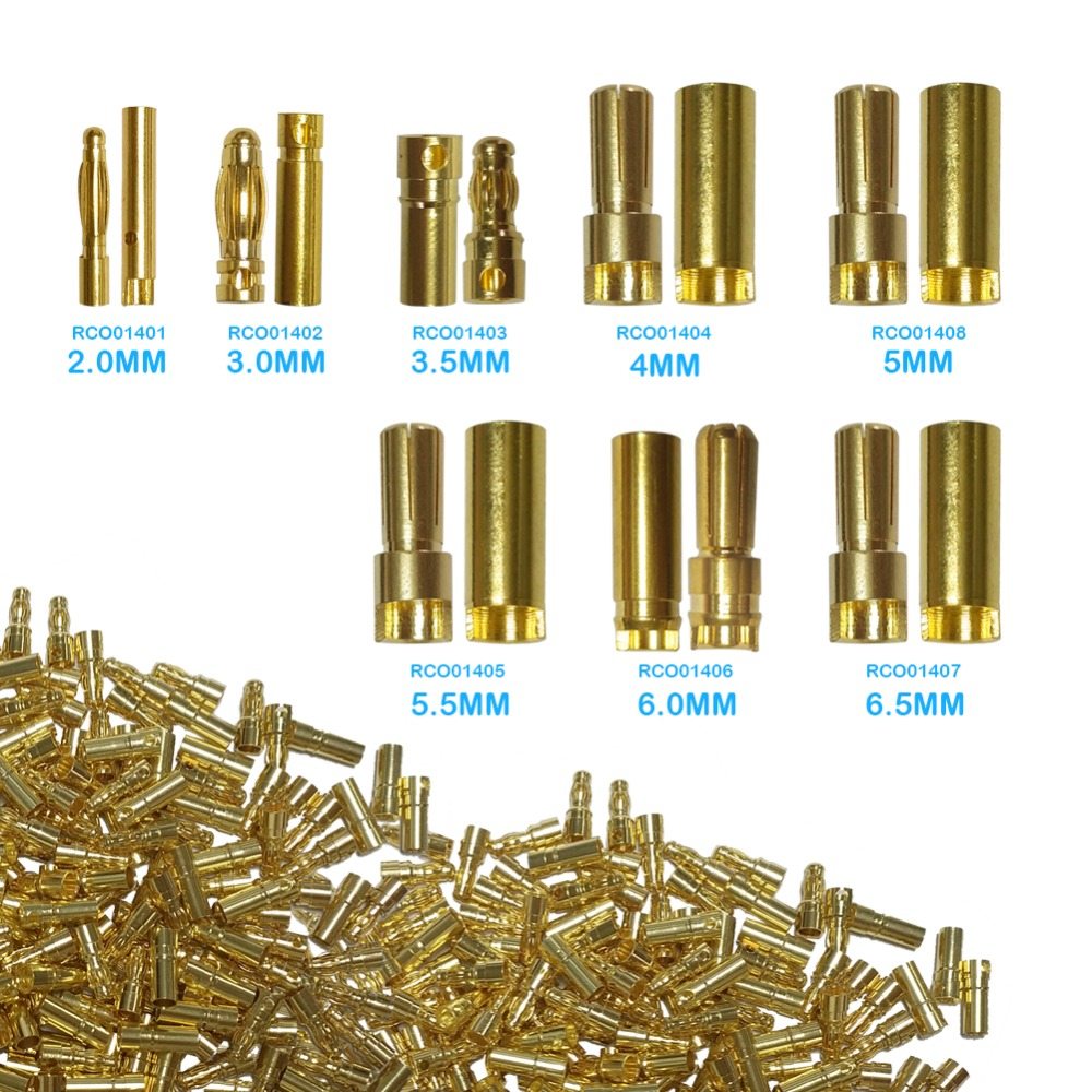 1000PCS/Lot 2mm/3mm/3.5mm/4mm/5mm/5.5mm/6.5mm Gold Bullet Banana Connector Plug For ESC Battery Motor (500 Pair) 10pair 3 5mm gold bullet banana connector plug with protective sleeve for esc battery motor