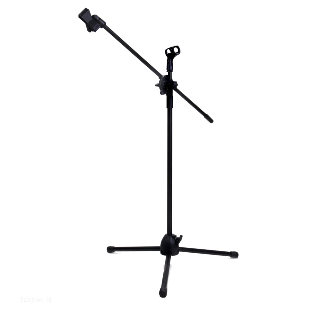 SCLS Dual Clips Boom miniphone Mic Stand Holder Adjustable Collapsible Tripod New