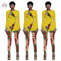 BRW 2017 Spring Bazin Riche African Wax Print Two Pieces Pants Set for Women Dashiki African Clothing Crop Top and Pants WY1125