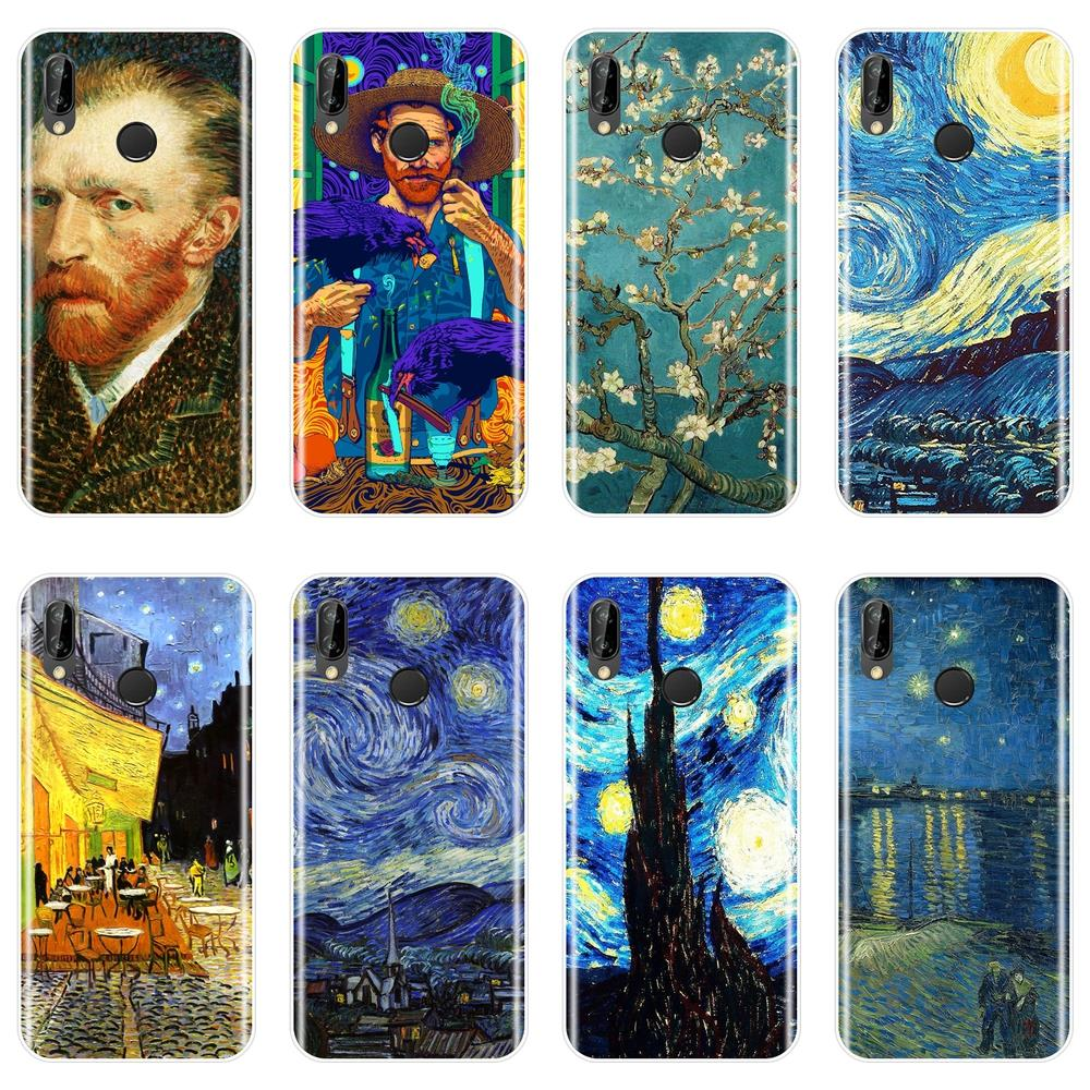 Van Gogh Phone Case For Huawei P20 Lite Pro P9 P10 Plus P Smart Silicone Back Cover For Huawei P7 P8 P9 Lite Mini 2017 Case(China)