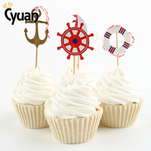 Cyuan 24pcs Lot Beach Summer Ocean Style Sailor Ship Anchor Birthday Cake Topper Kids Children Party Decor Supplies