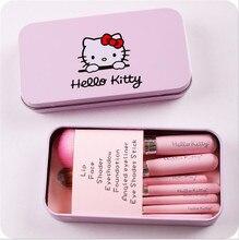Newest Black/Pink Hello Kitty 7Pcs Makeup Brush Set Mini Professional Facial Cosmetics Make Up Brushes Set With Metal Box