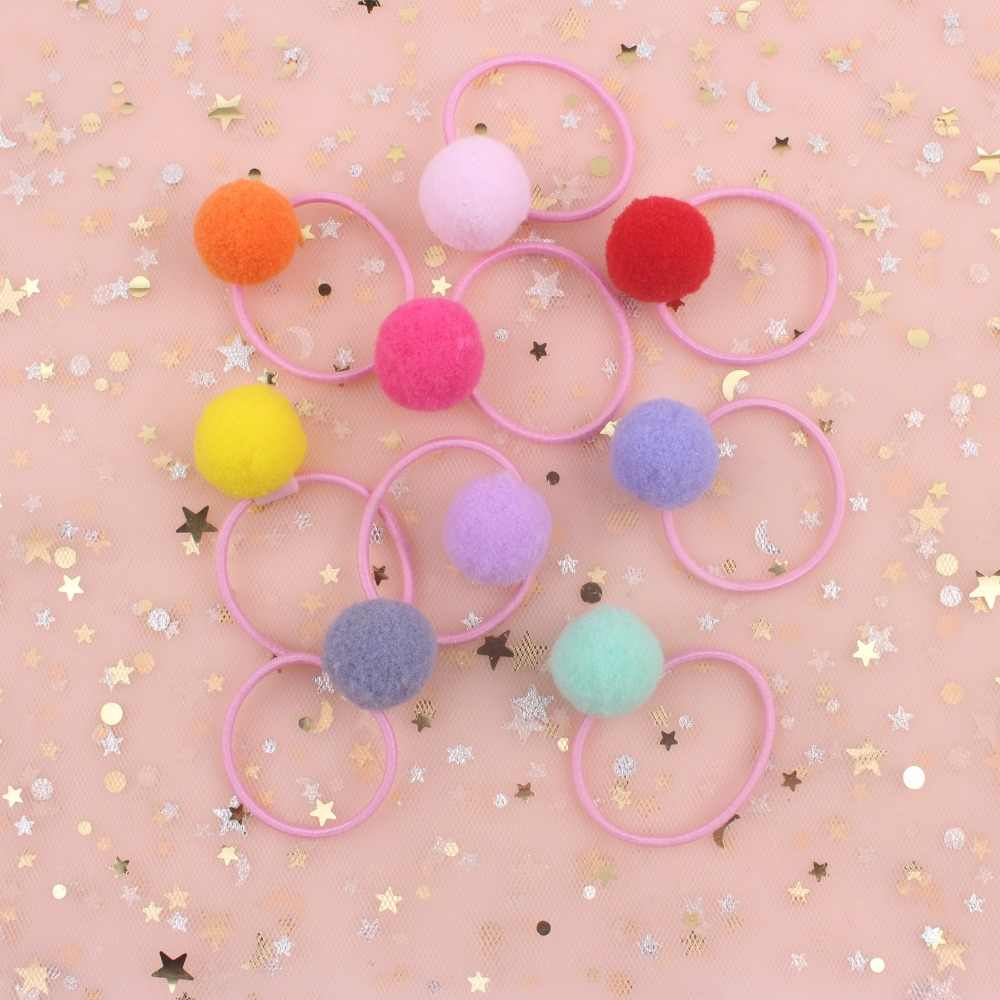 2019 new fashion girls Elastic Hair Bands diameter 30mm and Plush Ball diameter 20mm hair accessories for kids 10pcs
