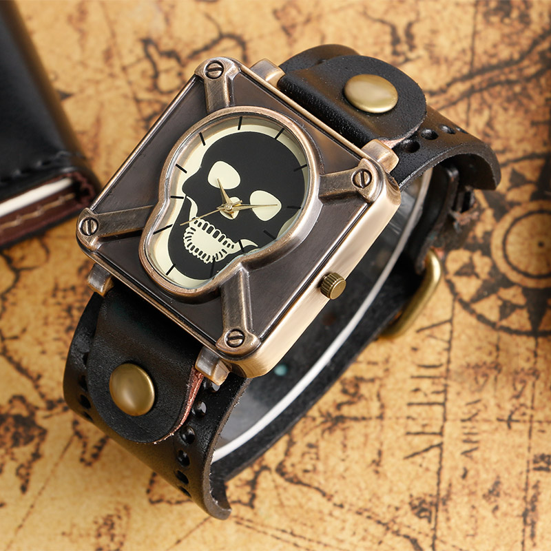 Fashion Wrist Watch Women Quartz Analog Watches Trendy Cool Special Design Leather Band Strap Square Shape Skull Face Men Clock