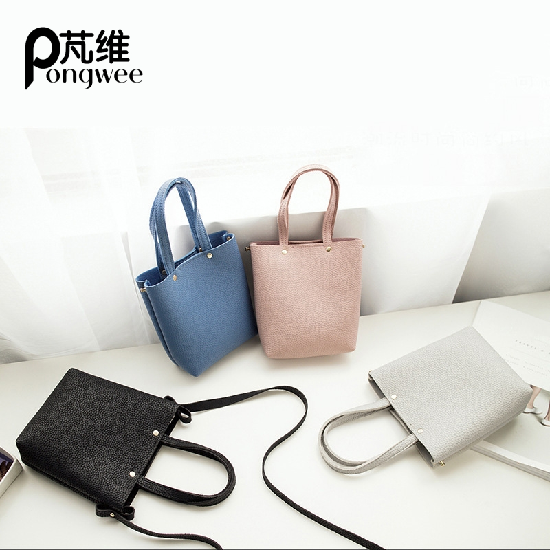 PONGWEE Hot Shoulder Bag Women Leather Solid Color Handbags Bucket Ladies Hand Bags Casual Mini Female CasualTote Bag yuanyu 2018 new hot free shipping real python leather women clutch women hand caught bag women bag long snake women day clutches