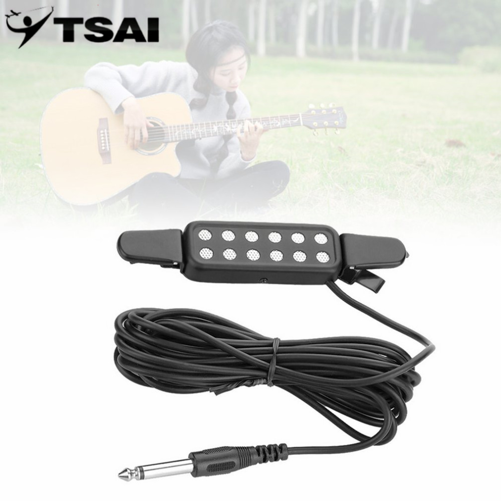TSAI Sound Pickup 12 Hole Clip On Microphone Wire Amplifier Speaker For Acoustic Electric Guitar Transducer for Guitarra player acoustic electric pickup piezo transducer for guitar ukulele violin cable new
