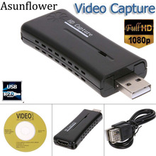 Asunflower HDMI USB Video Capture Card USB 2.0 Port 1080p Mini HD Recorder For Microsoft Windows XP Vista Win7 8 10 Game Capture usb 3 0 hdmi game capture card hd 1080p video capture for live broadcast streaming for tv box