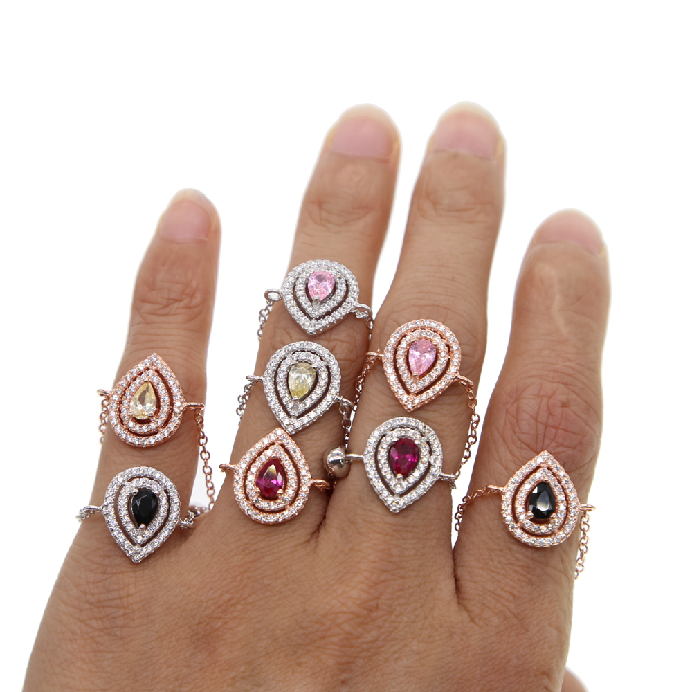 2018 colorful various color european usa franch hot selling delicate tear drop CZ adjust chain charm ring lovely fashion design