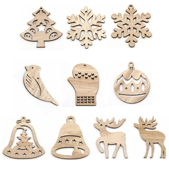 10PCS DIY Christmas Snowflakes&Deer&Tree Wooden Pendant Ornaments For Christmas Party Xmas Tree Ornaments Kids Gifts Decorations 13