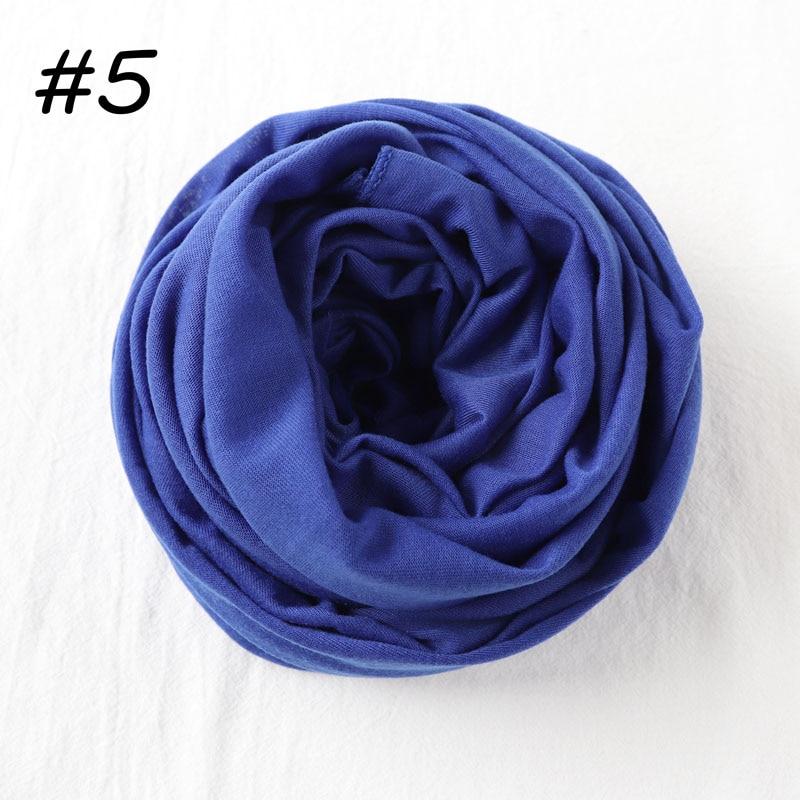 Один кусок Хиджаб Женский вискозный Джерси-шарф Мусульманский Исламский сплошной простой Джерси хиджабы Макси шарфы мягкие шали 70x160 см - Цвет: 5 royal blue