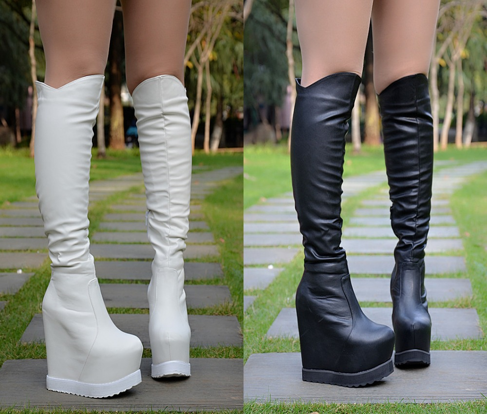 ФОТО New slope with boots women Winter knee long boots Water platform within the high knee boots