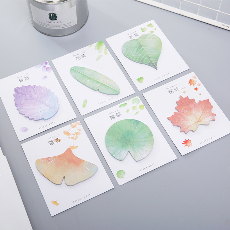 30 Sheets Cartoon Leaves Paper Sticker Paste Memo Pad Planner Sticky Notes Post It Kawaii Stationery School Supplies Papeleria