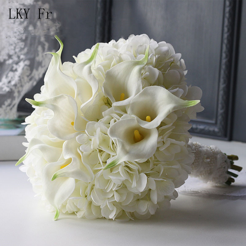 LKY Fr Wedding Bouquet Bridal Bouquet Silk Artificial Flowers Bridal Bouquets Hydrangea Roses Calla Lily For Wedding Accessories