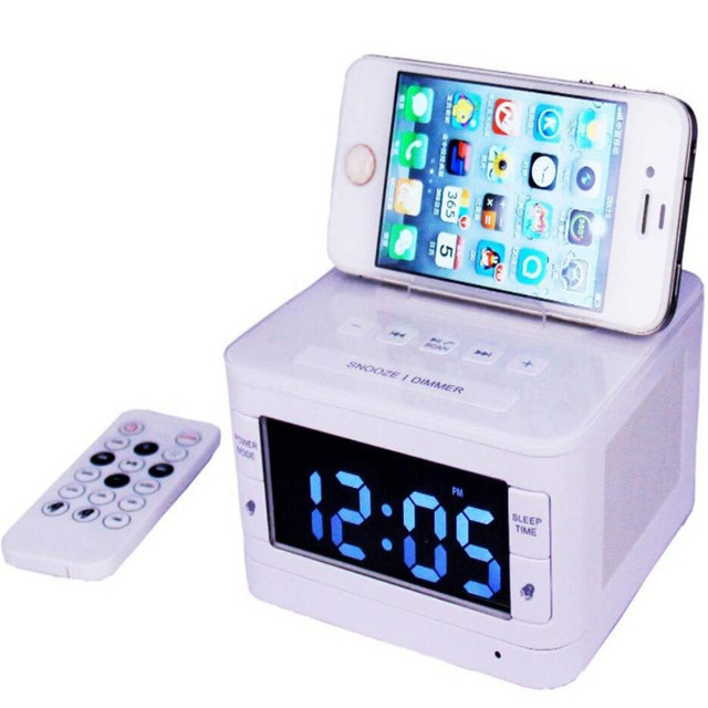 hot sales fb54b 548a1 US $60.4 |Wireless Bluetooth Speaker USB charging port FM Radio Alarm Clock  Charger Speaker remote control for iphone 6 7 8 x Samsung S7-in Bookshelf  ...