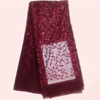Hot Selling Lady Dress Material French Lace Fabric With Sequins Fashion African Net Lace Apparel Cloth