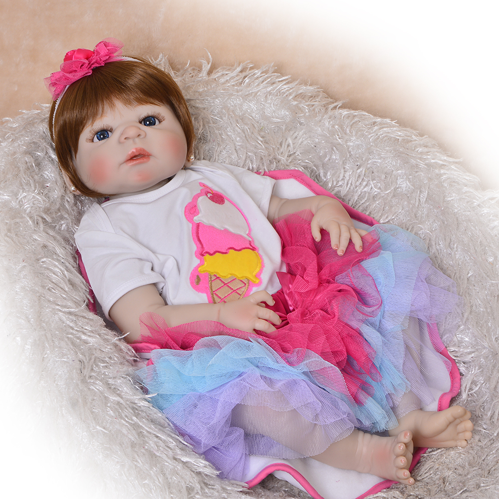 KEIUMI 23 Cute Boneca Reborn Full Silicone Vinyl Body Reborn Babies Dolls Girl Realistic Princess For
