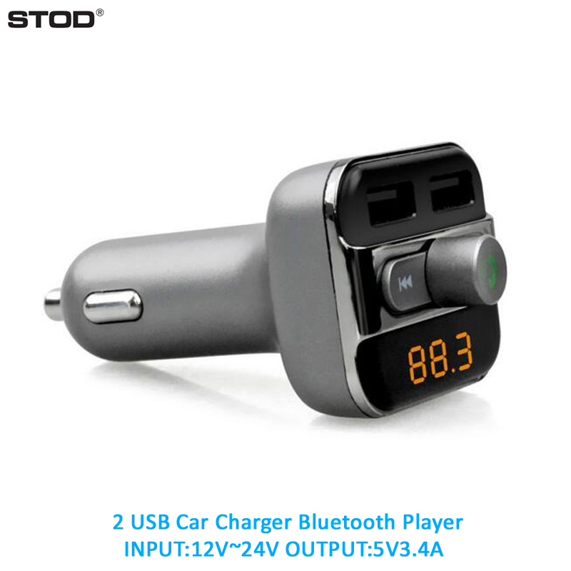 STOD Billaddare 3.4A Bluetooth FM TF-kort U Disk Mp3-spelare för iPhone 5 5S 6 6S 7 Plus iPad Samsung Lenovo ZTE Huawei Adapter