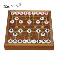 BSTFAMLY Chinese Chess Xiang Qi Wooden box Acrylic Pieces with Drawer 21.5*19.5*1.2/3.0cm 32Pcs/Set Puzzle Game Kids Gift C01