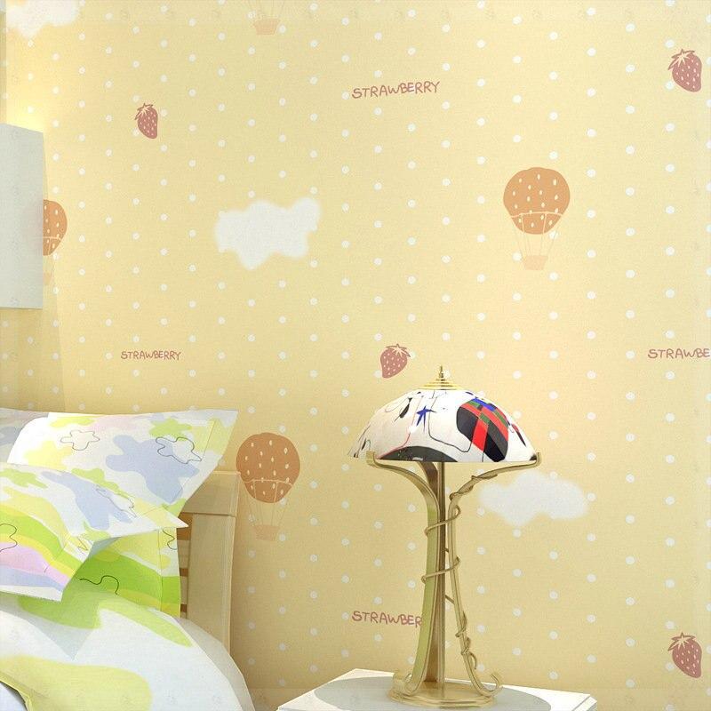 cute Korean cartoon romantic eco material non woven cloth wallpaper for boy and girl s bedroom