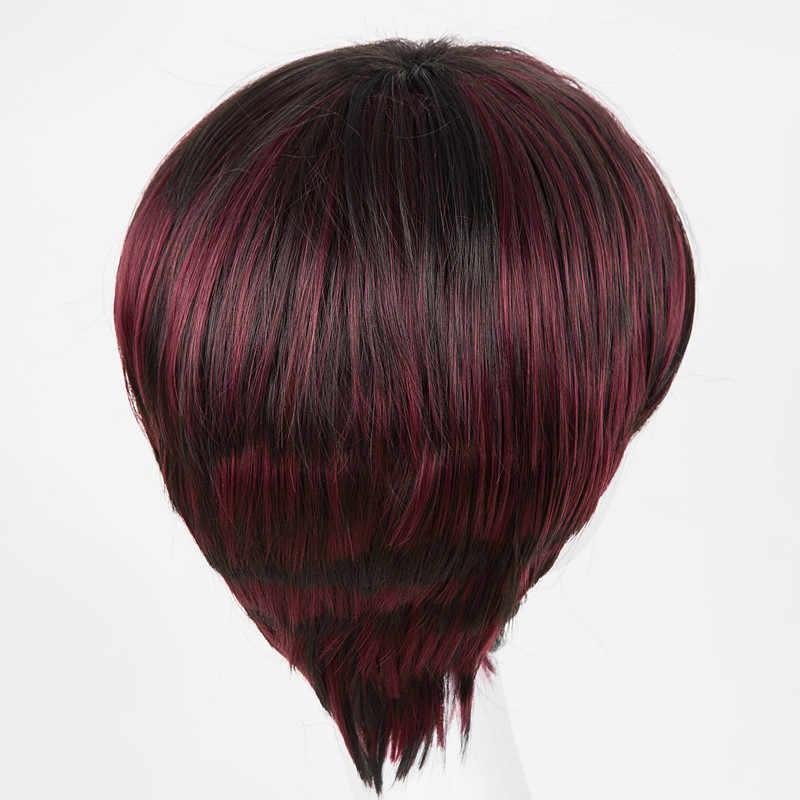 Fei-Zeigen Wellenförmige Perücken Geneigt Bands Für Frauen Synthetische Wärme Widerstand Haarteile Schwarz Mixed Burgund Weibliche Haar Toupet