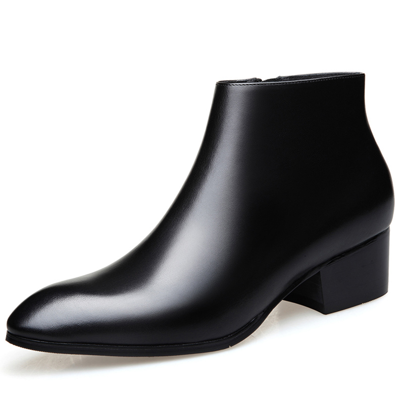 New fashion genuine leather men zip boots high heels pointed toe wedding shoes mens ankle boots quality office career work bootsNew fashion genuine leather men zip boots high heels pointed toe wedding shoes mens ankle boots quality office career work boots