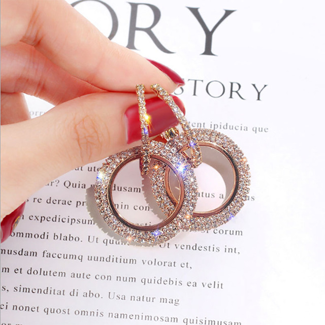 2018 creative jewelry high-grade elegant crystal earrings round Gold and silver earrings wedding party for women merry christmas 5