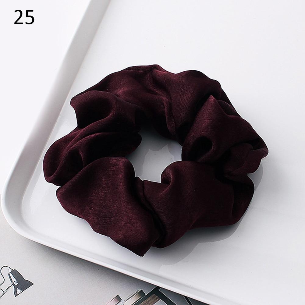 Новое поступление модные женские красивые атласные резинки для волос яркого цвета резинки для волос для девушек аксессуары для волос конский хвост держатель - Цвет: 25