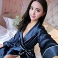 Señoras Sexy de Satén de Seda Robe Kimono Albornoz Elegante Completo Manga Home Use Bata Bata bata de Baño de La Manera Suave Para mujeres