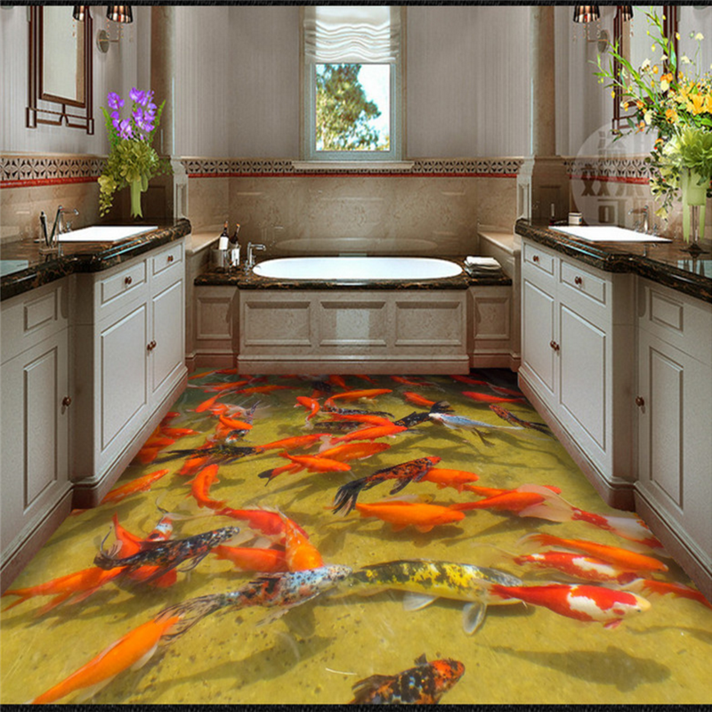US $17.14 |Benutzerdefinierte Foto Boden Wandbild Tapete 3D Rote Fische  Hotel Badezimmer Wand PVC Wohnzimmer selbstklebende Wasserdichte Boden ...