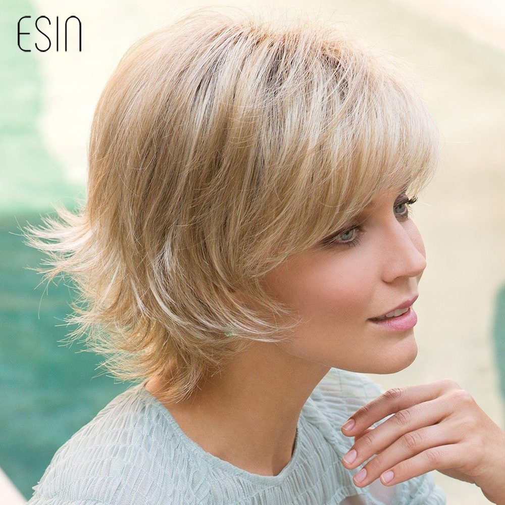 ESIN Short Hair Wig Pixie Cut Natural Wavy Fluffy Layered Wigs with Bangs Women Short Blonde Imitation Top Wigs Free Shipping