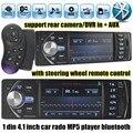 Бесплатная доставка 4.1 ''дюймовый автомобильный радиоприемник Поддержка DVR/вход AUX USB TF с рулевого колеса дистанционного управления 1 din car audio stereo MP5