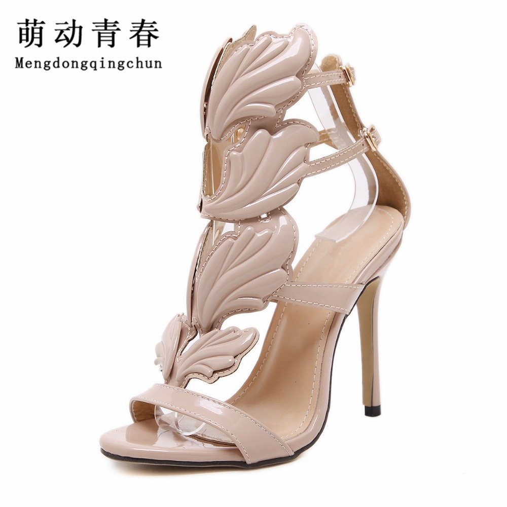 2017 Brand New Women High Heels Gold Winged Leaves Cut-outs Stiletto Gladiator Sandals Flame Party High heel Sandal Shoes Woman fashion star supermode sexy stiletto gladiator cut outs high heels sandals women s slimmer heel party shoes size 35 46 b052